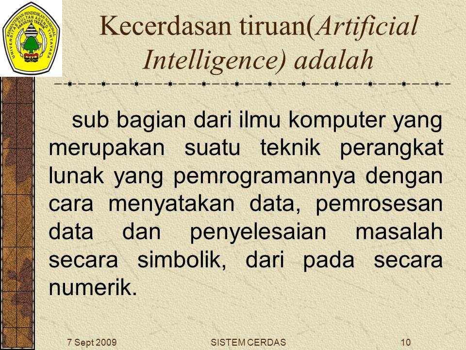 9SISTEM CERDAS7 Sept 2009 Pengertian AI dapat ditinjau dari dua pendekatan : Pendekatan Teknik( An Engineering Approach) Usaha untuk menghindari definisi AI, tetapi ingin mengatasi atau memecahkan persoalan-persoalan dunia nyata( real world problem).