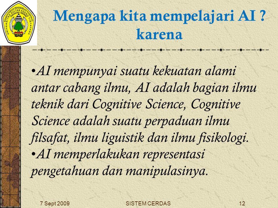 11SISTEM CERDAS7 Sept 2009 Mengapa kita mempelajari AI .