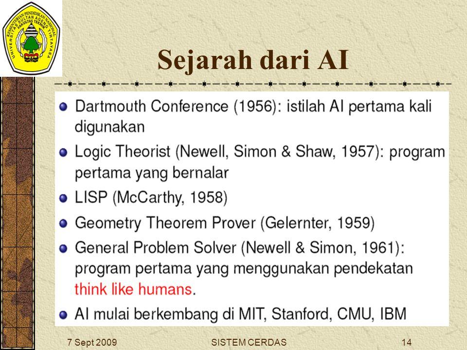 13SISTEM CERDAS7 Sept 2009 Mengapa kita mempelajari AI .