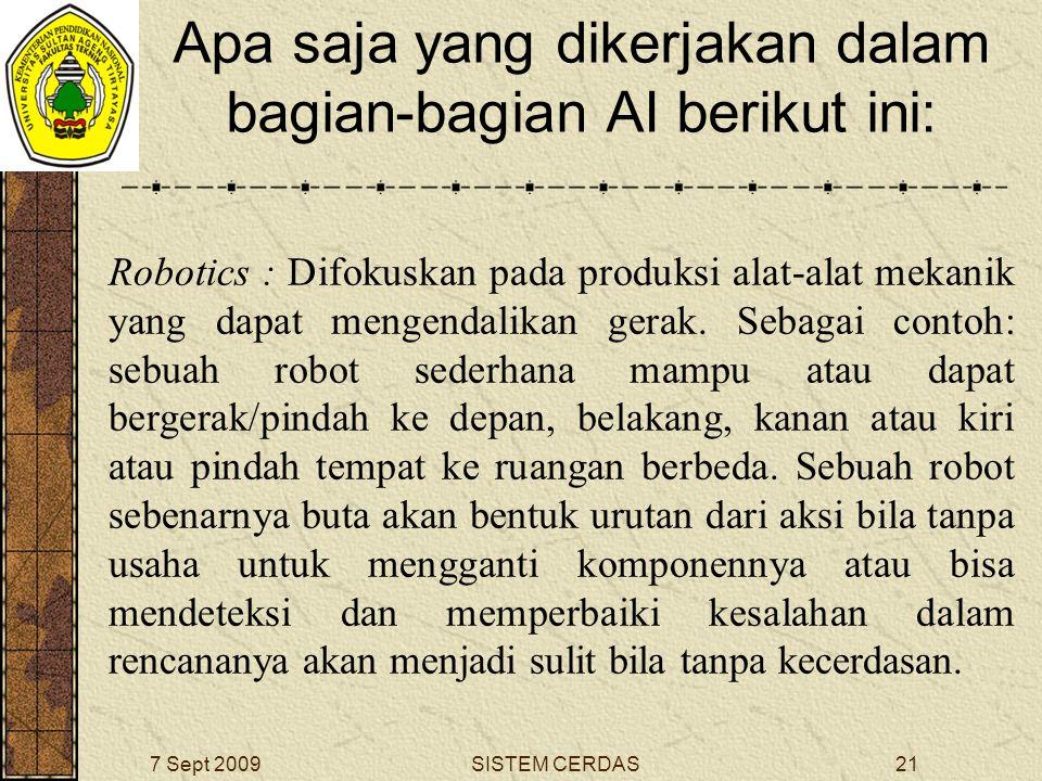 20SISTEM CERDAS7 Sept 2009 Apa saja yang dikerjakan dalam bagian-bagian AI berikut ini: Machine Vision : Bertujuan pada pengenalan pola dalam beberapa jalan yang sama sebagai kegiatan sistem visual/indera manusia.