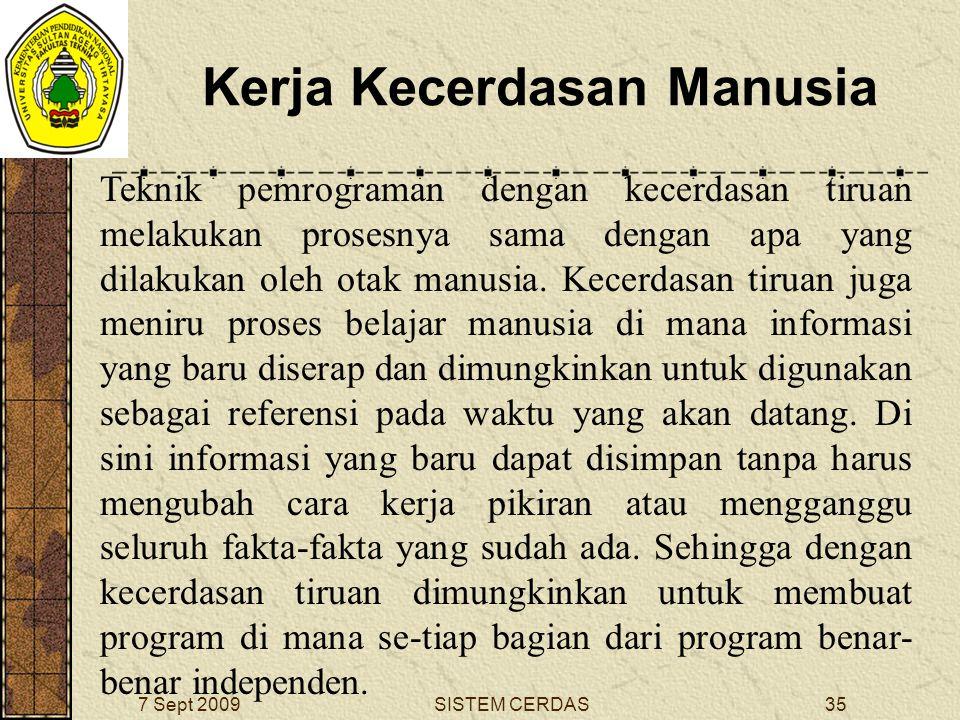 34SISTEM CERDAS7 Sept 2009 Kerja Kecerdasan Manusia Dalam proses berpikir, proses ini berhubungan dengan fakta-fakta yang sangat banyak sebelum memberikan suatu tindakan atau respon.