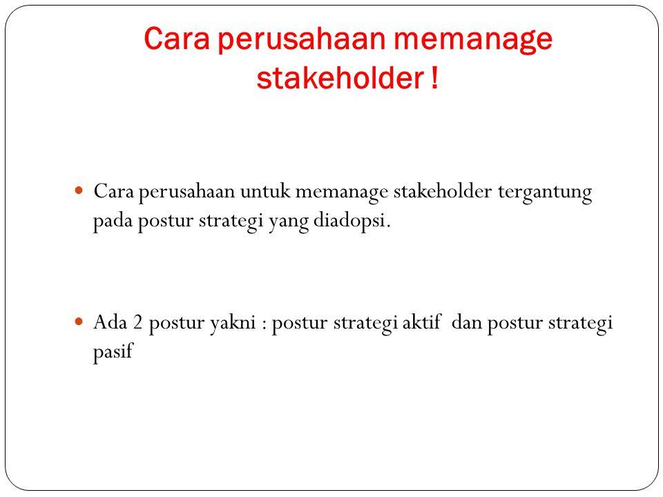 Cara perusahaan memanage stakeholder ! Cara perusahaan untuk memanage stakeholder tergantung pada postur strategi yang diadopsi. Ada 2 postur yakni :