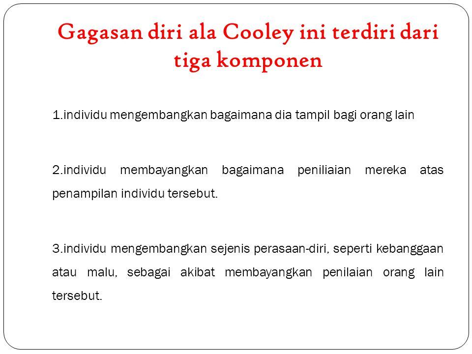 Gagasan diri ala Cooley ini terdiri dari tiga komponen 1.individu mengembangkan bagaimana dia tampil bagi orang lain 2.individu membayangkan bagaimana peniliaian mereka atas penampilan individu tersebut.