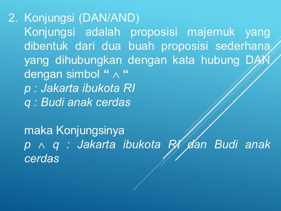 2.Konjungsi (DAN/AND) Konjungsi adalah proposisi majemuk yang dibentuk dari dua buah proposisi sederhana yang dihubungkan dengan kata hubung DAN denga