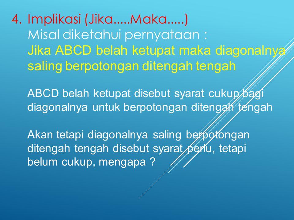 4.Implikasi (Jika.....Maka.....) Misal diketahui pernyataan : Jika ABCD belah ketupat maka diagonalnya saling berpotongan ditengah tengah ABCD belah k