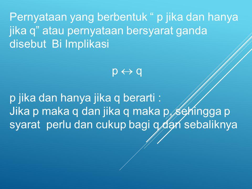 """Pernyataan yang berbentuk """" p jika dan hanya jika q"""" atau pernyataan bersyarat ganda disebut Bi Implikasi p  q p jika dan hanya jika q berarti : Jika"""