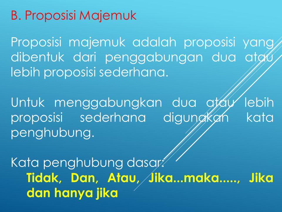B. Proposisi Majemuk Proposisi majemuk adalah proposisi yang dibentuk dari penggabungan dua atau lebih proposisi sederhana. Untuk menggabungkan dua at