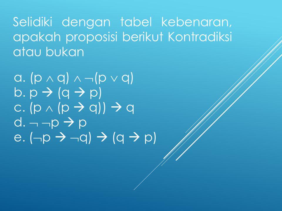 Selidiki dengan tabel kebenaran, apakah proposisi berikut Kontradiksi atau bukan a. (p  q)   (p  q) b. p  (q  p) c. (p  (p  q))  q d.   p 
