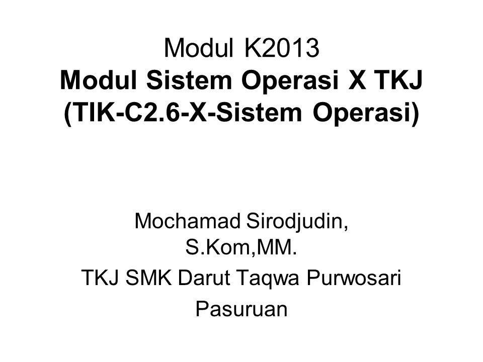 Modul K2013 Modul Sistem Operasi X TKJ (TIK-C2.6-X-Sistem Operasi) Mochamad Sirodjudin, S.Kom,MM. TKJ SMK Darut Taqwa Purwosari Pasuruan
