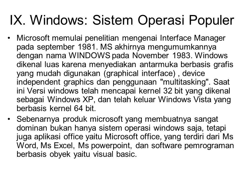 IX. Windows: Sistem Operasi Populer Microsoft memulai penelitian mengenai Interface Manager pada september 1981. MS akhirnya mengumumkannya dengan nam