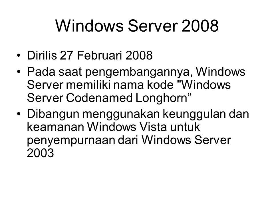 Windows Server 2008 Dirilis 27 Februari 2008 Pada saat pengembangannya, Windows Server memiliki nama kode