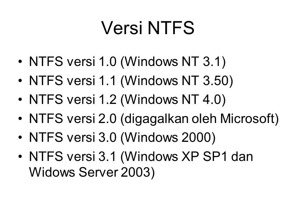 Versi NTFS NTFS versi 1.0 (Windows NT 3.1) NTFS versi 1.1 (Windows NT 3.50) NTFS versi 1.2 (Windows NT 4.0) NTFS versi 2.0 (digagalkan oleh Microsoft)