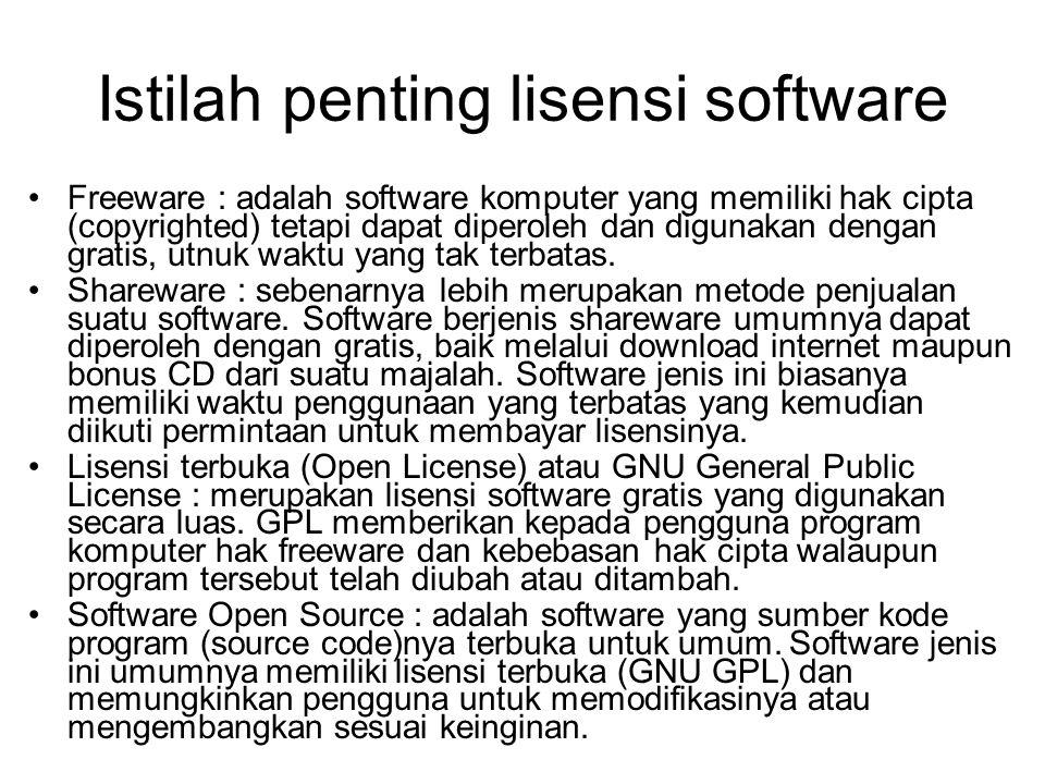 Istilah penting lisensi software Freeware : adalah software komputer yang memiliki hak cipta (copyrighted) tetapi dapat diperoleh dan digunakan dengan