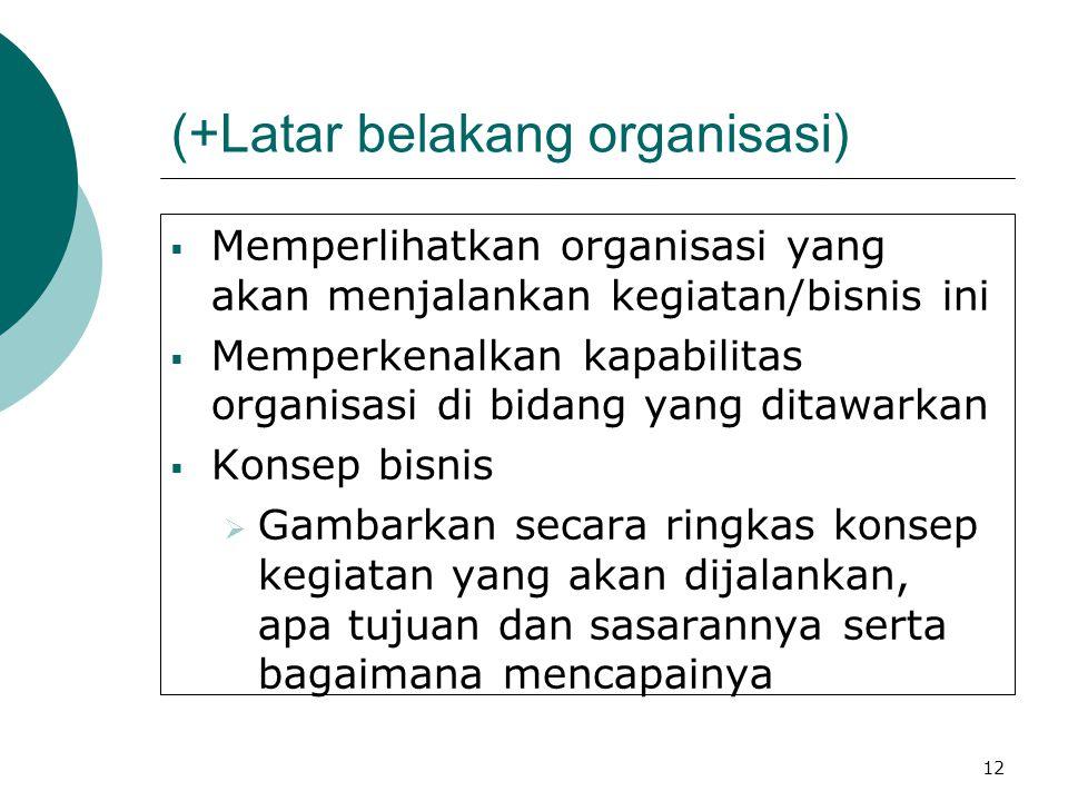 12 (+Latar belakang organisasi)  Memperlihatkan organisasi yang akan menjalankan kegiatan/bisnis ini  Memperkenalkan kapabilitas organisasi di bidan