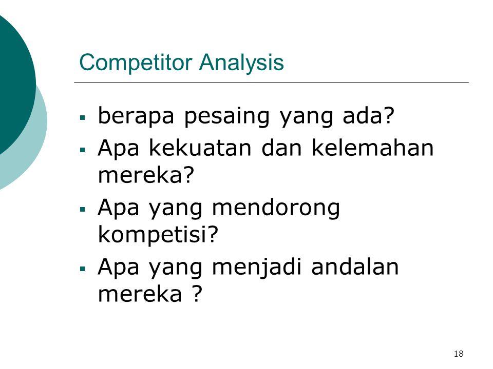 18 Competitor Analysis  berapa pesaing yang ada?  Apa kekuatan dan kelemahan mereka?  Apa yang mendorong kompetisi?  Apa yang menjadi andalan mere