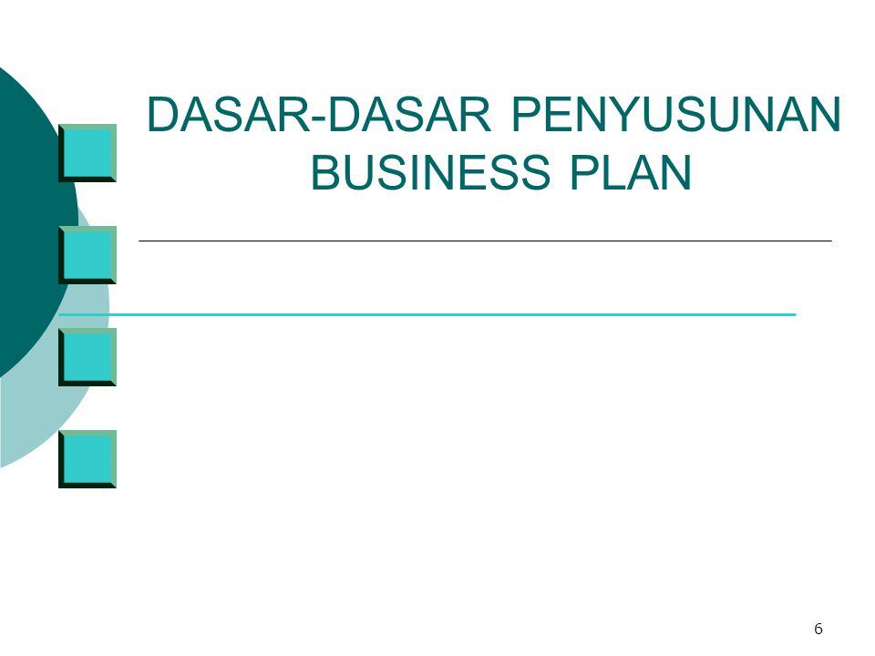 7 Dasar-dasar (ISI) Business Plan Suatu BP sebaiknya memuat hal-hal berikut:  Lembar judul ( + Ringkasan Eksekutif)  Peluang (+ dan tawaran )  Produk/jasa yang diberikan / direncanakan (+ Latar belakang organisasi)  Analisa kondisi /Pasar ( internal dan eksternal)  Formulasi strategi (rencana pemasaran, organisasi, produksi)  Analisis finansial dan Analisa Resiko ( + Rencana Tindak, Action Plan)  Lampiran : Terminologi, Data Pendukung dsb