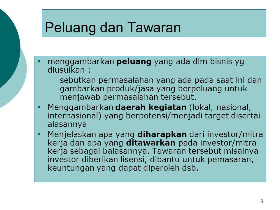 9 Peluang dan Tawaran  menggambarkan peluang yang ada dlm bisnis yg diusulkan :  sebutkan permasalahan yang ada pada saat ini dan gambarkan produk/j