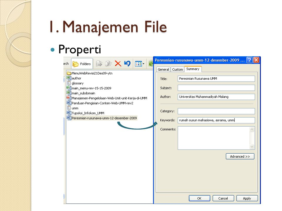 1. Manajemen File Properti