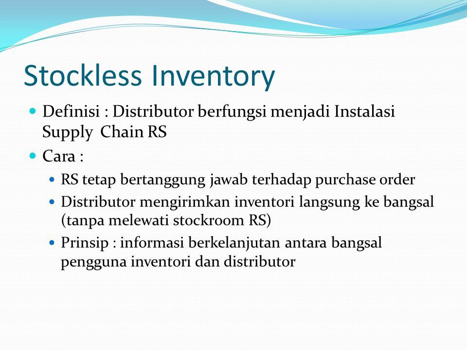 Stockless Inventory Definisi : Distributor berfungsi menjadi Instalasi Supply Chain RS Cara : RS tetap bertanggung jawab terhadap purchase order Distr