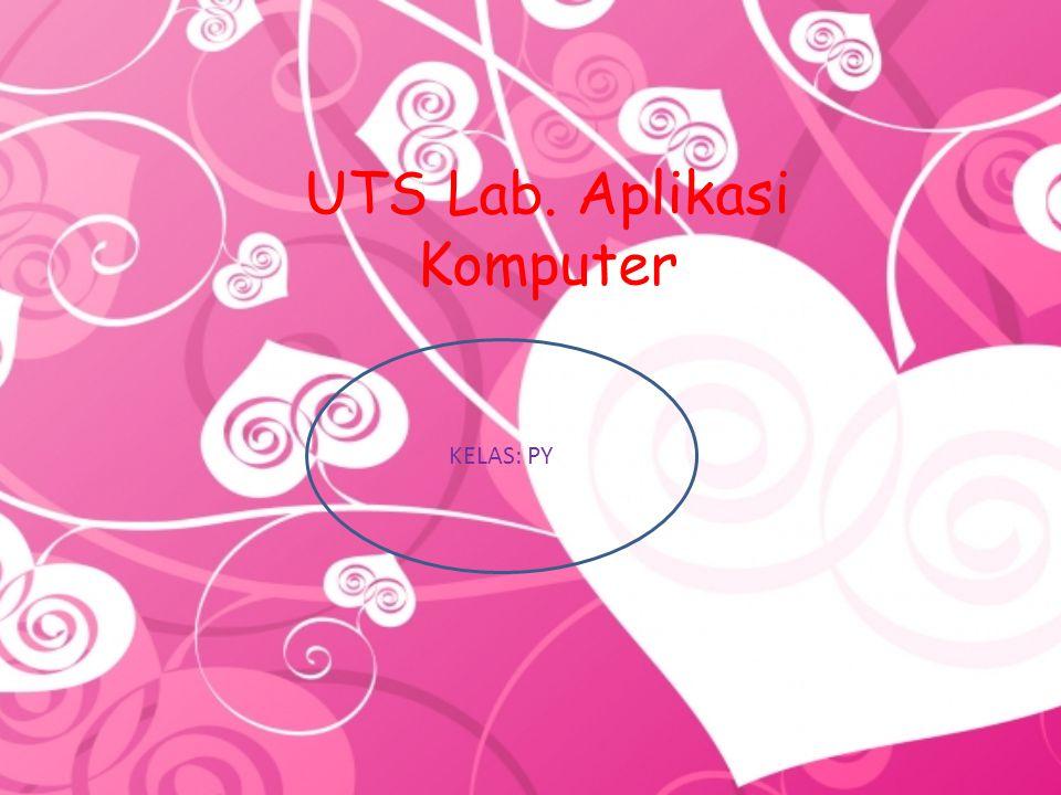 UTS Lab. Aplikasi Komputer KELAS: PY