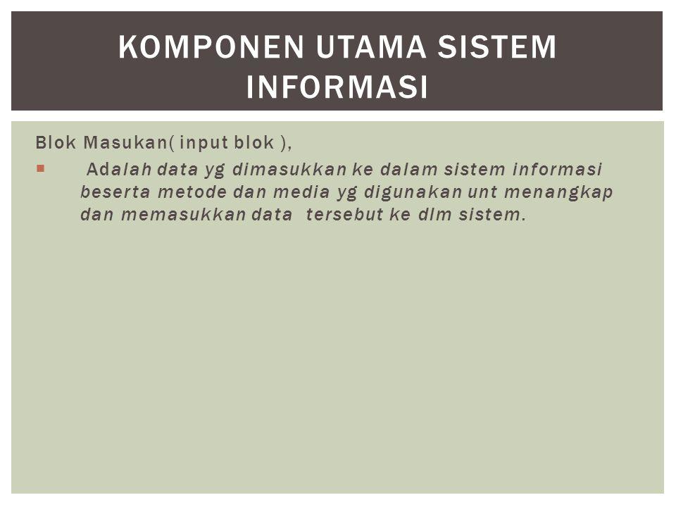 Blok Masukan( input blok ),  Adalah data yg dimasukkan ke dalam sistem informasi beserta metode dan media yg digunakan unt menangkap dan memasukkan data tersebut ke dlm sistem.