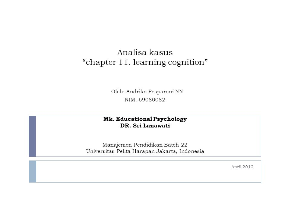 "Analisa kasus ""chapter 11. learning cognition"" Oleh: Andrika Pesparani NN NIM. 69080082 Mk. Educational Psychology DR. Sri Lanawati Manajemen Pendidik"