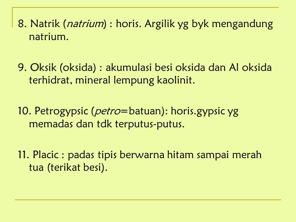 8. Natrik (natrium) : horis. Argilik yg byk mengandung natrium. 9. Oksik (oksida) : akumulasi besi oksida dan Al oksida terhidrat, mineral lempung kao