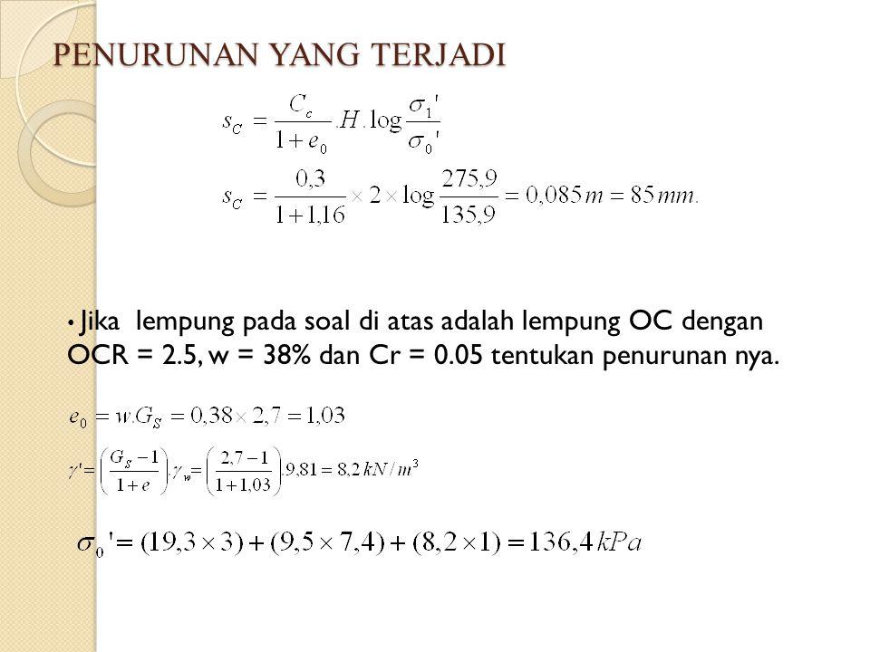 PENURUNAN YANG TERJADI Jika lempung pada soal di atas adalah lempung OC dengan OCR = 2.5, w = 38% dan Cr = 0.05 tentukan penurunan nya.