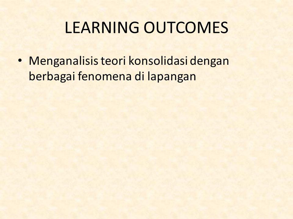 LEARNING OUTCOMES Menganalisis teori konsolidasi dengan berbagai fenomena di lapangan