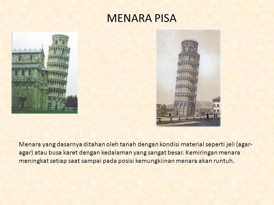 MENARA PISA Menara yang dasarnya ditahan oleh tanah dengan kondisi material seperti jeli (agar- agar) atau busa karet dengan kedalaman yang sangat bes