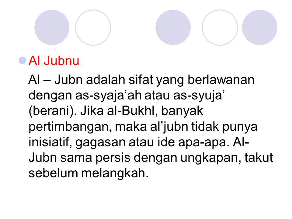 Al Jubnu Al – Jubn adalah sifat yang berlawanan dengan as-syaja'ah atau as-syuja' (berani). Jika al-Bukhl, banyak pertimbangan, maka al'jubn tidak pun