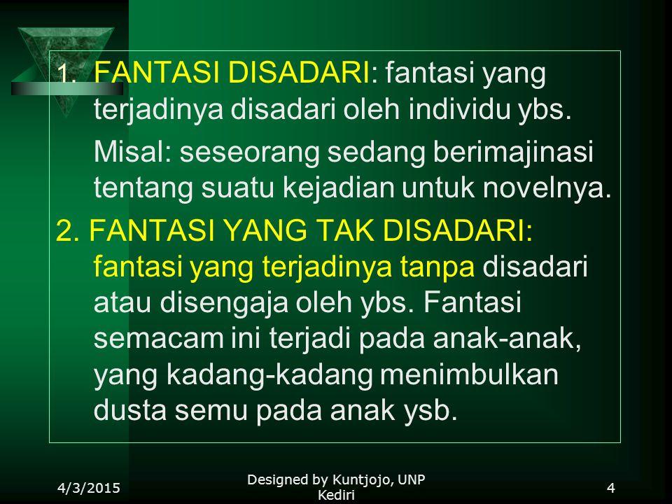 1.FANTASI DISADARI: fantasi yang terjadinya disadari oleh individu ybs.