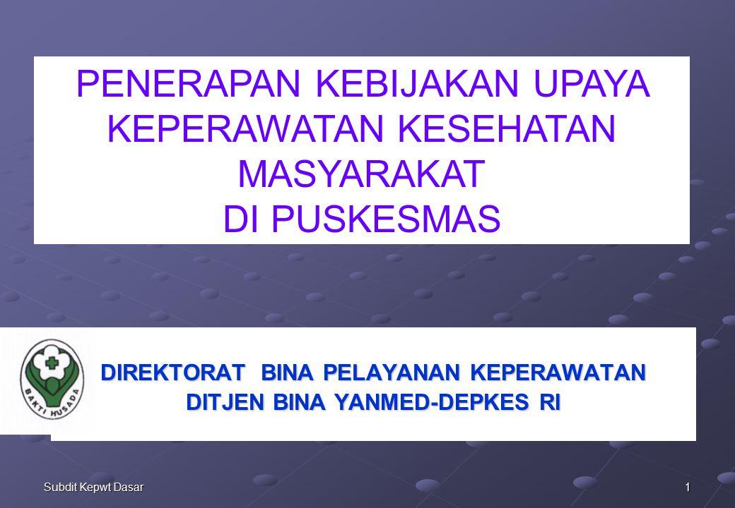 32Subdit Kepwt Dasar KEGIATAN PERKESMAS (2) KUNJUNGAN RUMAH OLEH PERAWAT (HOME VISIT /HOME CARE) TERENCANA  PEMBINAAN KELUARGA PENGKAJIAN KEPERAWATAN ANGGOTA KELUARGA LAIN  DETEKSI DINI KASUS/MASALAH KONTAK SERUMAH PENDIDIKAN/ PENYULUHAN KESEHATAN/ KEPERAWATAN TERENCANA DI KELUARGA TINDAKAN KEPERAWATAN (DIRECT CARE) PENDERITA PEMANTAUAN KETERATURAN PENGOBATAN PENGENDALIAN INFEKSI DI KELUARGA DOKUMENTASI KEPERAWATAN 2 KELUARGA RAWAN KES PRIORITAS KONSELING KEPERAWATAN/KESEHATAN KELUARGA D/ KASUS TLP