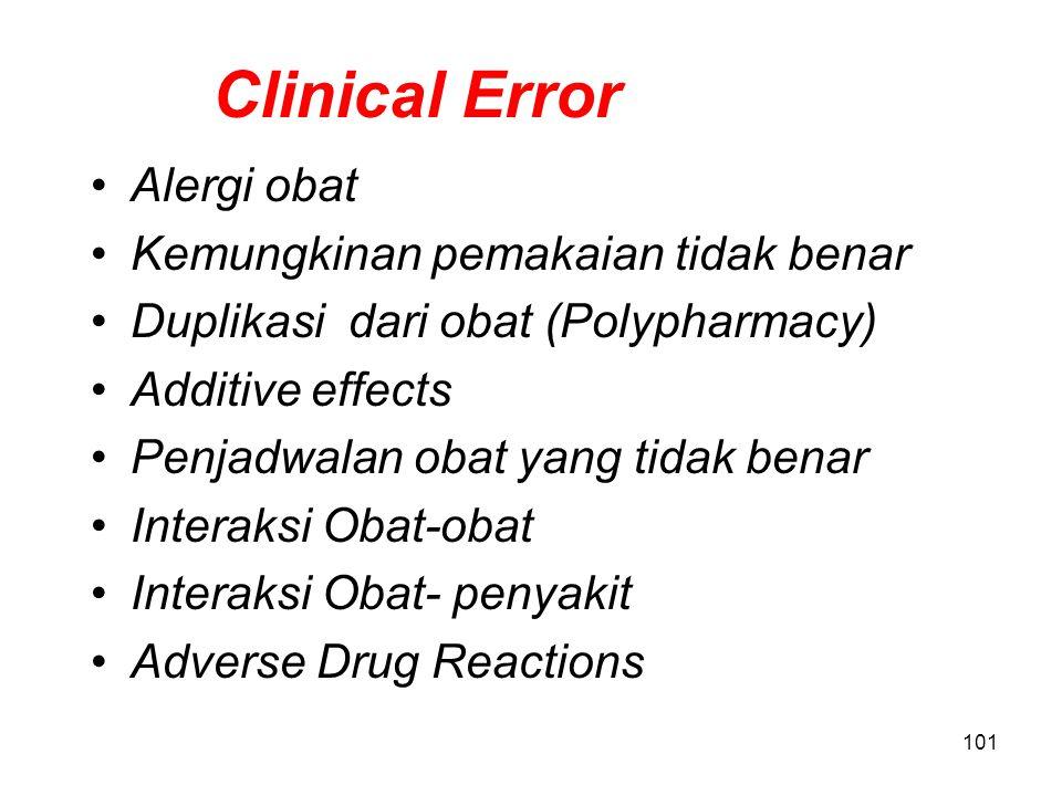 100 Pharmaceutical Error Apakah bentuk sediaan sesuai dengan yang tersedia? Apakah ada bentuk sediaan yang lebih sesuai ? Apakah dosis obat sesuai den