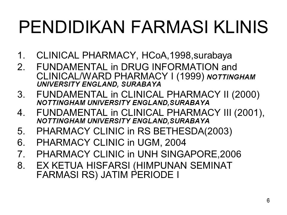 46 1.Sejarah PROFESI FARMASI A.Traditional drug distribution stage (< thn 60-an) B.Transitional /Clinical Pharmacy stage (1960) C.Patient Focused /Pharmaceutical Care stage (1990)