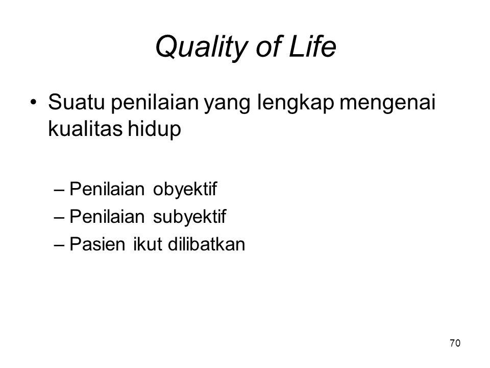69 Outcomes Kepastian perbaikan kualitas hidup –Kesembuhan penyakit –Eliminasi, pengurangan simtom –Penghentian/perlambatan proses penyakit Untuk menc