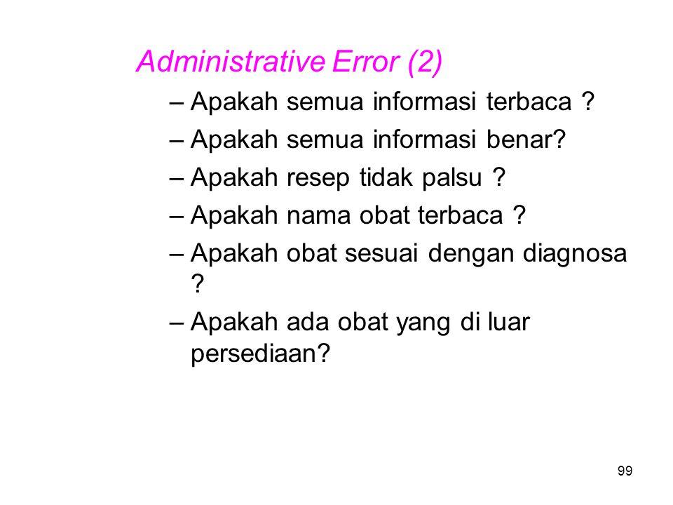 98 Administrative Error (1) –Asal pasien –Jenis kelamin –Umur –Berat –Nama –No registrasi –Diagnosa –Nama dokter, tanda tangan –Jenis obat