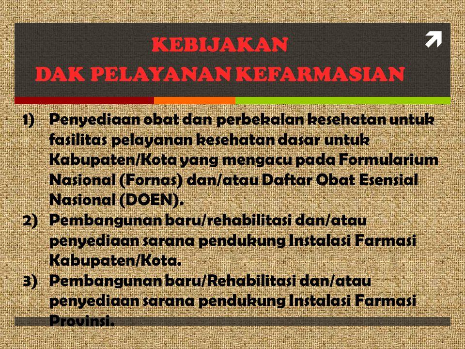  KEBIJAKAN DAK PELAYANAN KEFARMASIAN 1)Penyediaan obat dan perbekalan kesehatan untuk fasilitas pelayanan kesehatan dasar untuk Kabupaten/Kota yang m