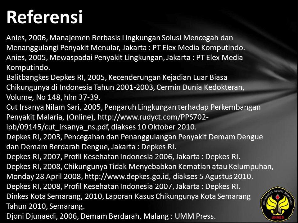 Referensi Anies, 2006, Manajemen Berbasis Lingkungan Solusi Mencegah dan Menanggulangi Penyakit Menular, Jakarta : PT Elex Media Komputindo.