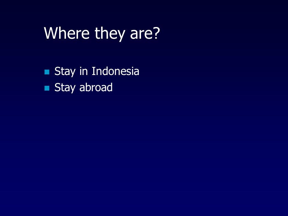 Where they are? Stay in Indonesia Stay abroad