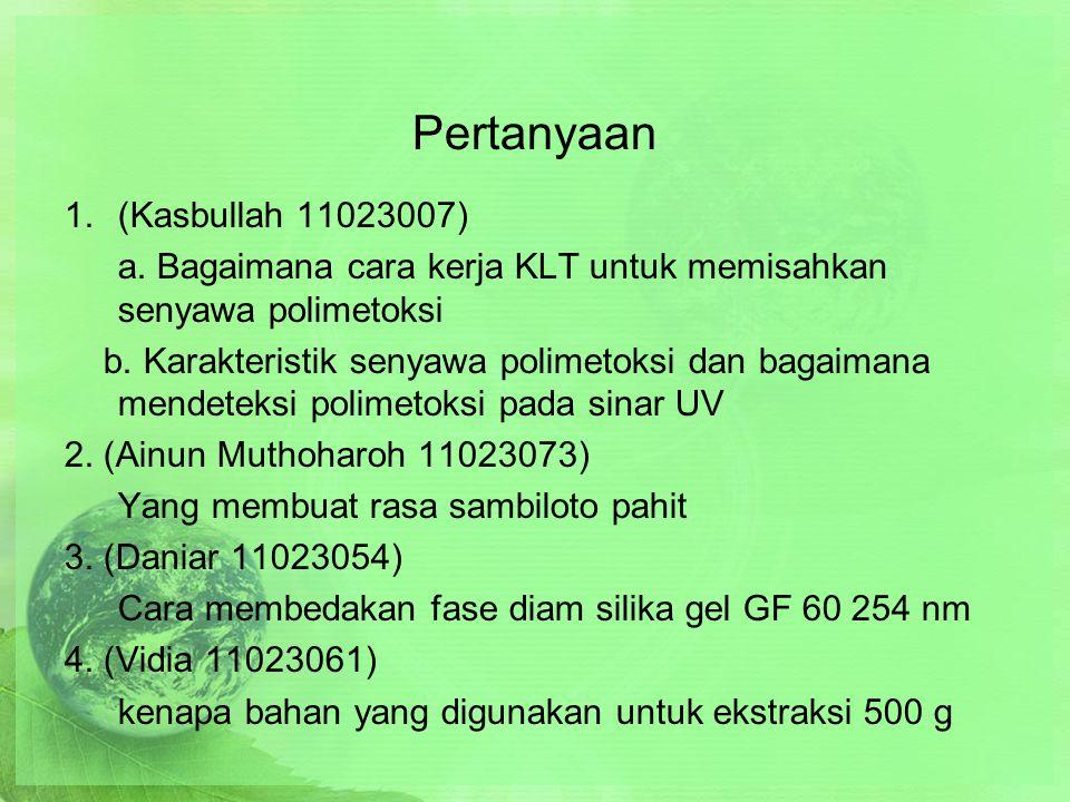 Pertanyaan 1.(Kasbullah 11023007) a.