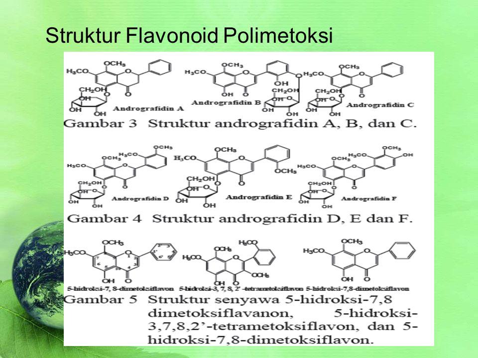 Sifat Fisika dan Kimia SIFAT FISIKA Flavonoid polimetoksi / polimetil (non polar) larut dalam heksan, PE, kloroform, eter, etil asetat, dan alcohol.