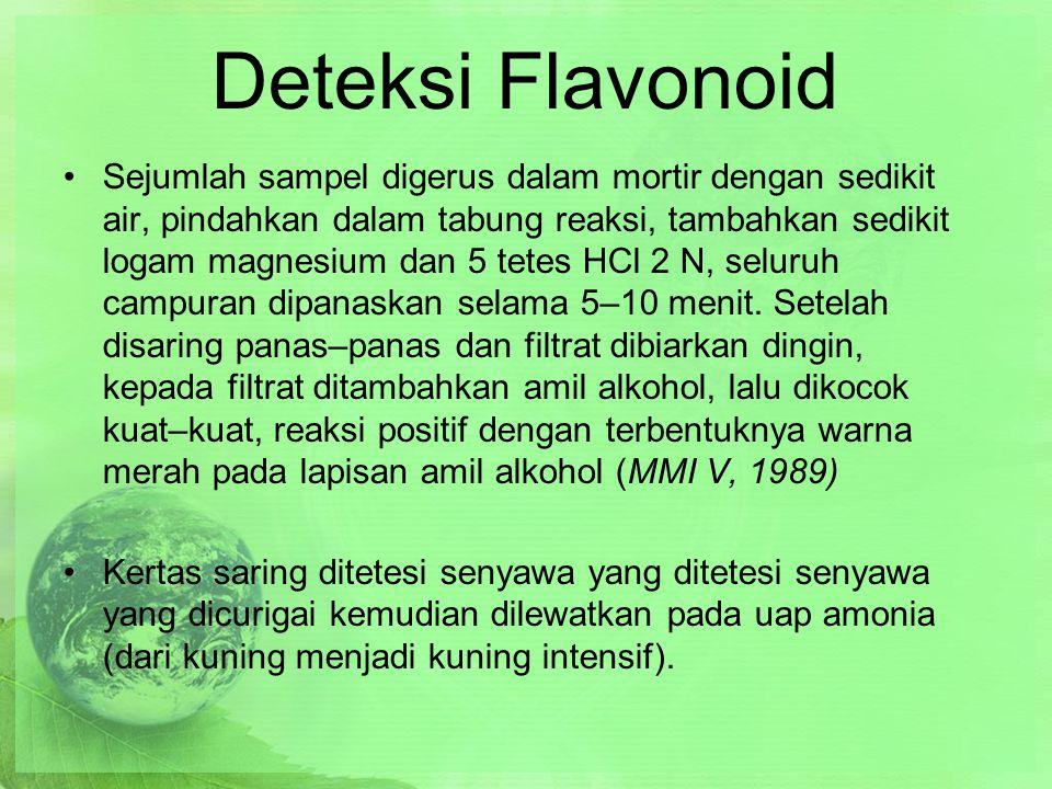 Deteksi Flavonoid Sejumlah sampel digerus dalam mortir dengan sedikit air, pindahkan dalam tabung reaksi, tambahkan sedikit logam magnesium dan 5 tetes HCl 2 N, seluruh campuran dipanaskan selama 5–10 menit.