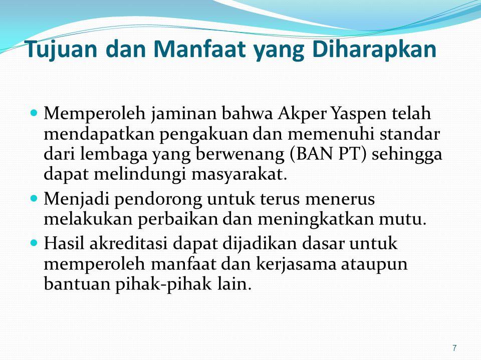 Tujuan dan Manfaat yang Diharapkan Memperoleh jaminan bahwa Akper Yaspen telah mendapatkan pengakuan dan memenuhi standar dari lembaga yang berwenang