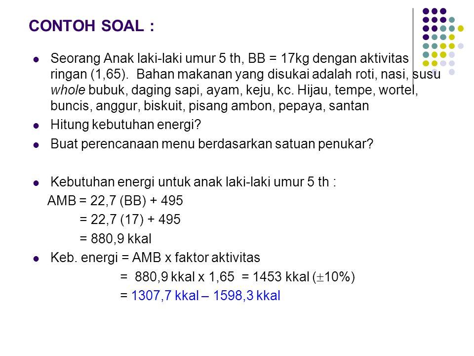 CONTOH SOAL : Seorang Anak laki-laki umur 5 th, BB = 17kg dengan aktivitas ringan (1,65).