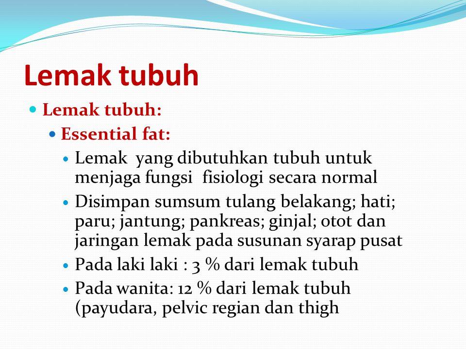 Lemak tubuh Lemak tubuh: Essential fat: Lemak yang dibutuhkan tubuh untuk menjaga fungsi fisiologi secara normal Disimpan sumsum tulang belakang; hati