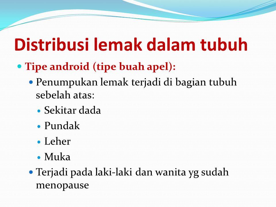 Distribusi lemak dalam tubuh Tipe android (tipe buah apel): Penumpukan lemak terjadi di bagian tubuh sebelah atas: Sekitar dada Pundak Leher Muka Terj