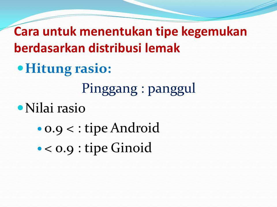 Cara untuk menentukan tipe kegemukan berdasarkan distribusi lemak Hitung rasio: Pinggang : panggul Nilai rasio 0.9 < : tipe Android < 0.9 : tipe Ginoi