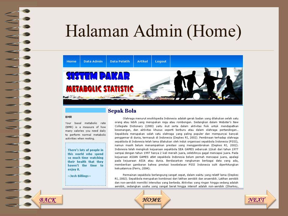 Halaman Admin (Home) NEXT BACK HOME