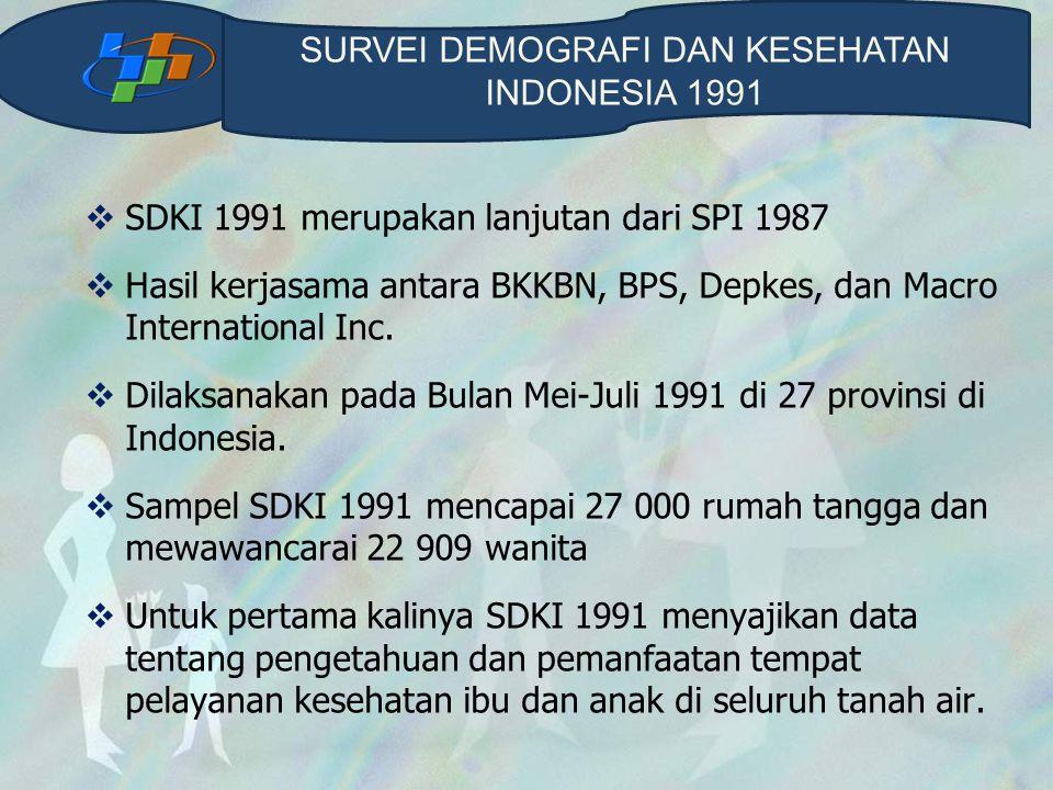  SDKI 1991 merupakan lanjutan dari SPI 1987  Hasil kerjasama antara BKKBN, BPS, Depkes, dan Macro International Inc.  Dilaksanakan pada Bulan Mei-J